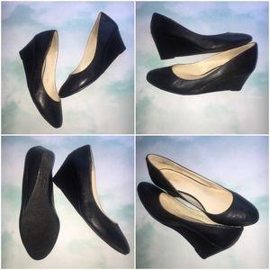 Black Nine West Leather Wedges Size 8.5M